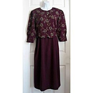 Vtg 90s Plum Bolero Midi Dress Miss Dorby Modest